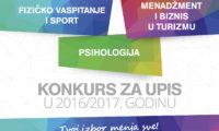 Konkurs za upis u školsku 2016-17. godinu – drugi upisni rok