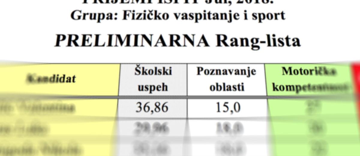 Preliminarne rang-liste prijemnih ispita, Jul 2018.