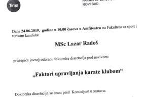Javna odbrana doktorske disertacije kandidata MSc Lazara Radoša