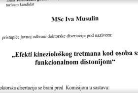 Javna odbrana doktorske disertacije kandidata MSc Ive Musulin