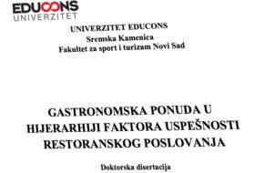 Gastronomska ponuda u hijerarhiji faktora uspešnosti restoranskog poslovanja